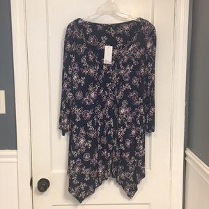 Plus size long tunic blouse - Blue and purple